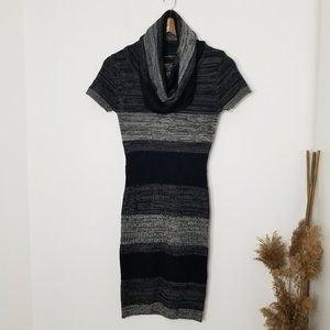 INC | Striped Cowl Neck Knit Sweater Dress Small